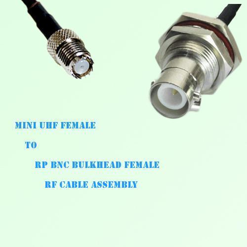 Mini UHF Female to RP BNC Bulkhead Female RF Cable Assembly