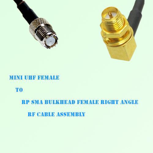 Mini UHF Female to RP SMA Bulkhead Female R/A RF Cable Assembly