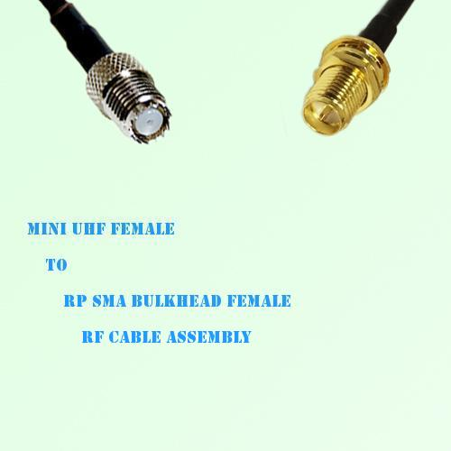 Mini UHF Female to RP SMA Bulkhead Female RF Cable Assembly
