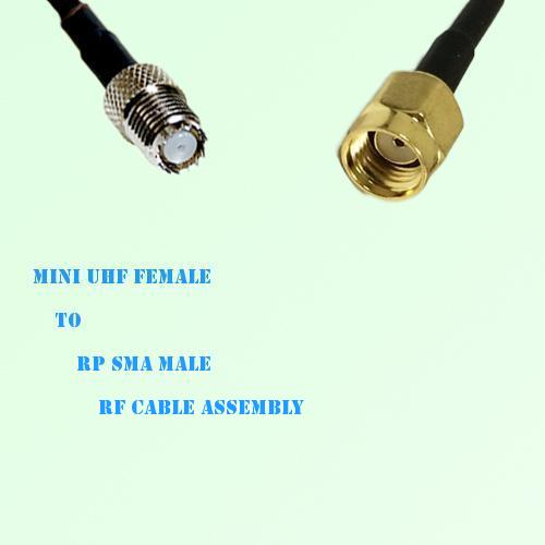 Mini UHF Female to RP SMA Male RF Cable Assembly