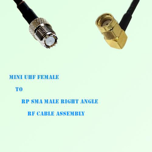 Mini UHF Female to RP SMA Male Right Angle RF Cable Assembly