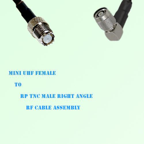 Mini UHF Female to RP TNC Male Right Angle RF Cable Assembly