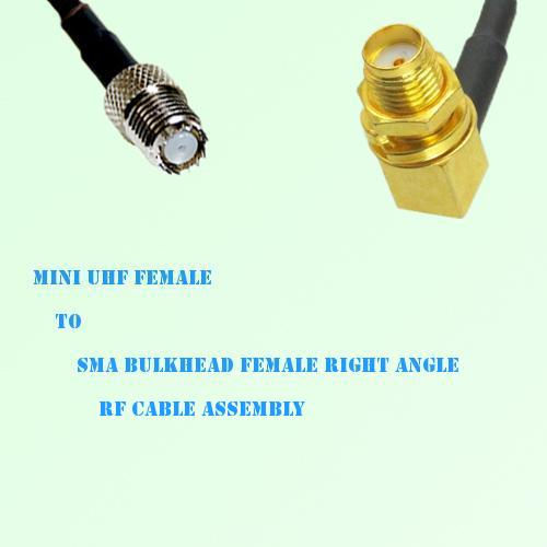 Mini UHF Female to SMA Bulkhead Female Right Angle RF Cable Assembly