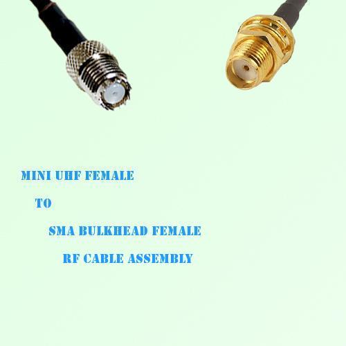 Mini UHF Female to SMA Bulkhead Female RF Cable Assembly