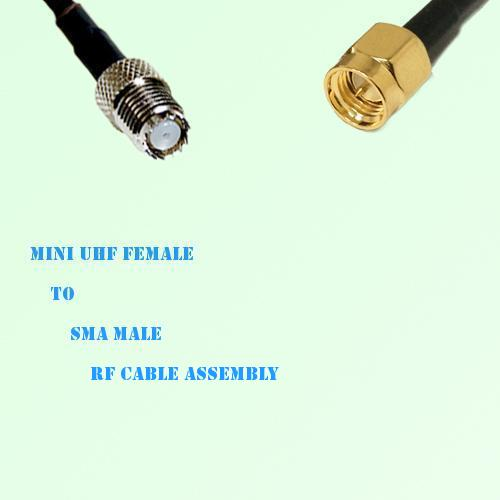 Mini UHF Female to SMA Male RF Cable Assembly