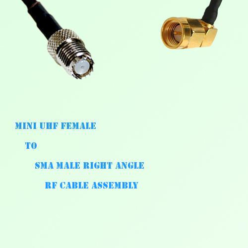 Mini UHF Female to SMA Male Right Angle RF Cable Assembly