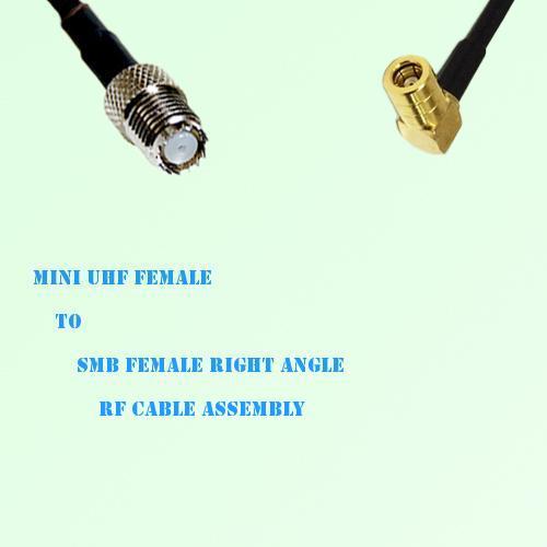 Mini UHF Female to SMB Female Right Angle RF Cable Assembly