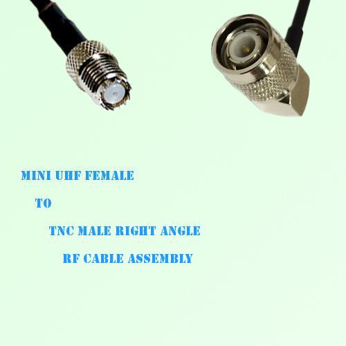Mini UHF Female to TNC Male Right Angle RF Cable Assembly