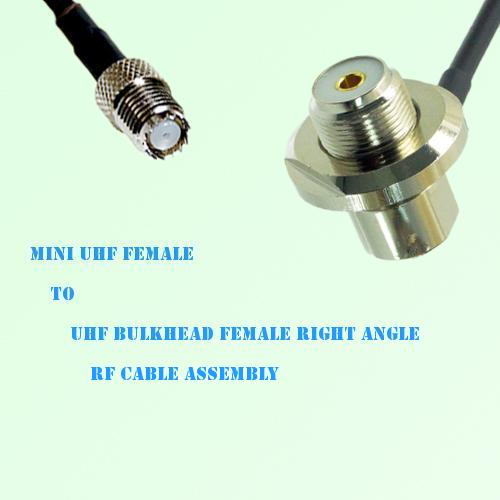 Mini UHF Female to UHF Bulkhead Female Right Angle RF Cable Assembly