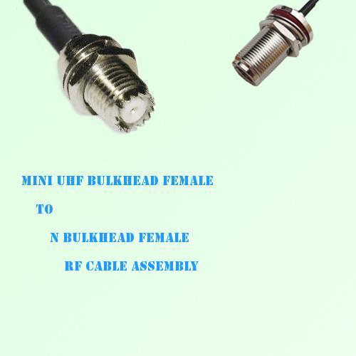 Mini UHF Bulkhead Female to N Bulkhead Female RF Cable Assembly