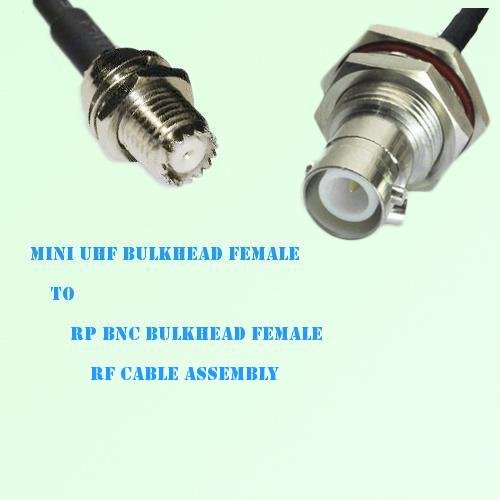 Mini UHF Bulkhead Female to RP BNC Bulkhead Female RF Cable Assembly