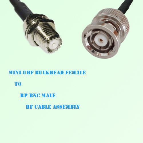 Mini UHF Bulkhead Female to RP BNC Male RF Cable Assembly