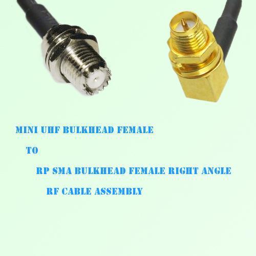 Mini UHF Bulkhead Female to RP SMA Bulkhead Female R/A RF Cable