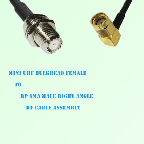 Mini UHF Bulkhead Female to RP SMA Male Right Angle RF Cable Assembly