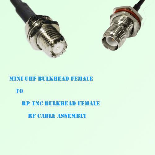 Mini UHF Bulkhead Female to RP TNC Bulkhead Female RF Cable Assembly