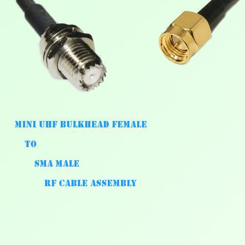 Mini UHF Bulkhead Female to SMA Male RF Cable Assembly