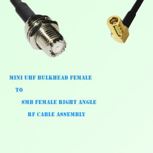 Mini UHF Bulkhead Female to SMB Female Right Angle RF Cable Assembly