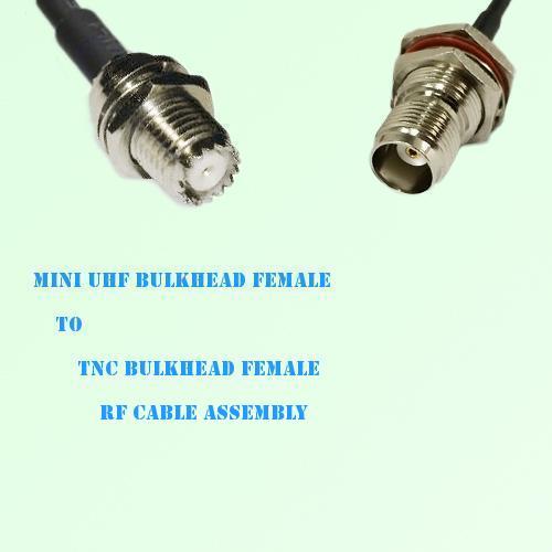 Mini UHF Bulkhead Female to TNC Bulkhead Female RF Cable Assembly