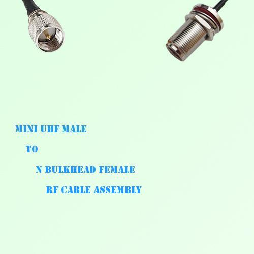 Mini UHF Male to N Bulkhead Female RF Cable Assembly