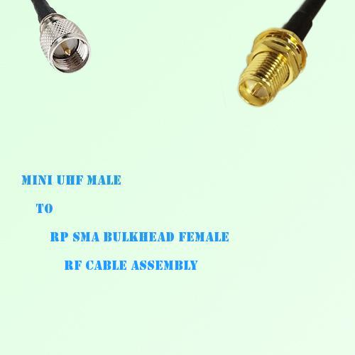 Mini UHF Male to RP SMA Bulkhead Female RF Cable Assembly
