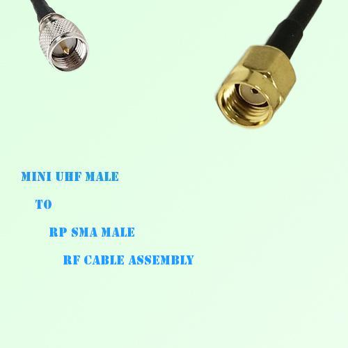 Mini UHF Male to RP SMA Male RF Cable Assembly
