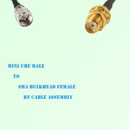 Mini UHF Male to SMA Bulkhead Female RF Cable Assembly