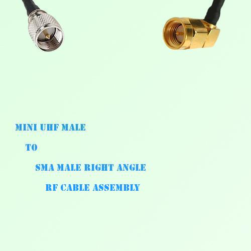 Mini UHF Male to SMA Male Right Angle RF Cable Assembly
