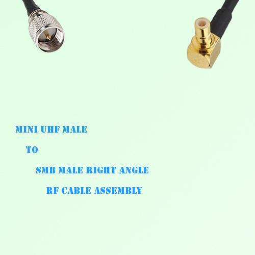Mini UHF Male to SMB Male Right Angle RF Cable Assembly