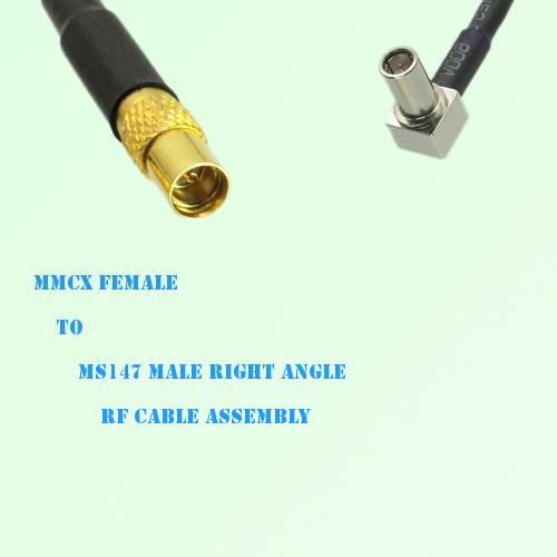 MMCX Female to MS147 Male Right Angle RF Cable Assembly