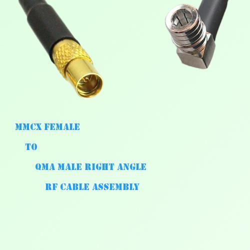 MMCX Female to QMA Male Right Angle RF Cable Assembly