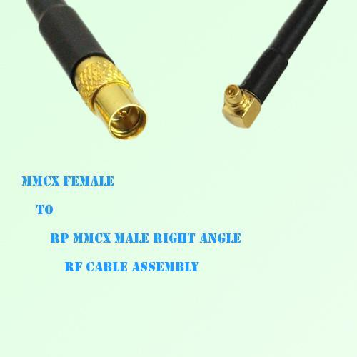 MMCX Female to RP MMCX Male Right Angle RF Cable Assembly