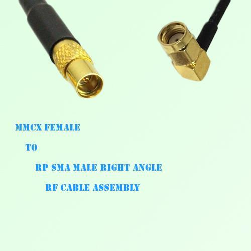 MMCX Female to RP SMA Male Right Angle RF Cable Assembly