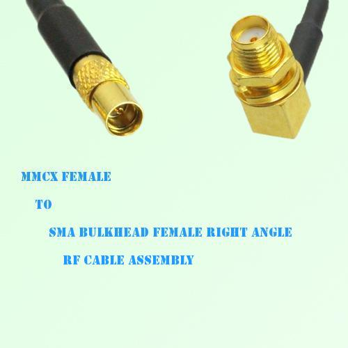MMCX Female to SMA Bulkhead Female Right Angle RF Cable Assembly