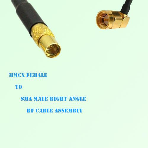MMCX Female to SMA Male Right Angle RF Cable Assembly