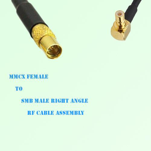 MMCX Female to SMB Male Right Angle RF Cable Assembly