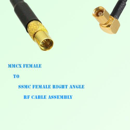 MMCX Female to SSMC Female Right Angle RF Cable Assembly
