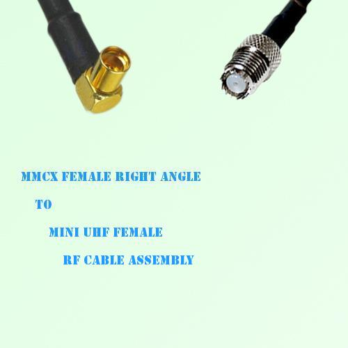 MMCX Female Right Angle to Mini UHF Female RF Cable Assembly