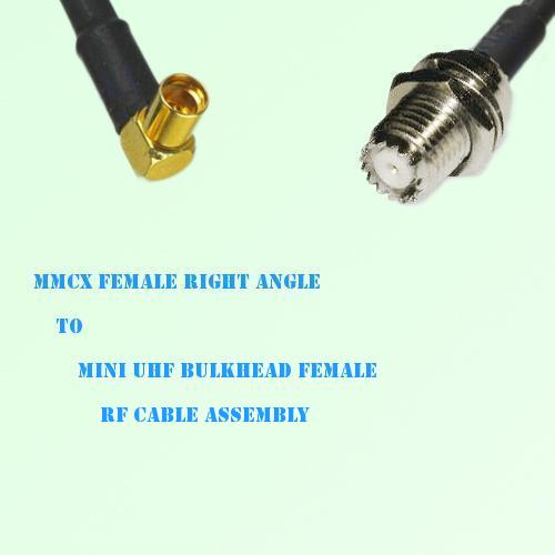 MMCX Female Right Angle to Mini UHF Bulkhead Female RF Cable Assembly