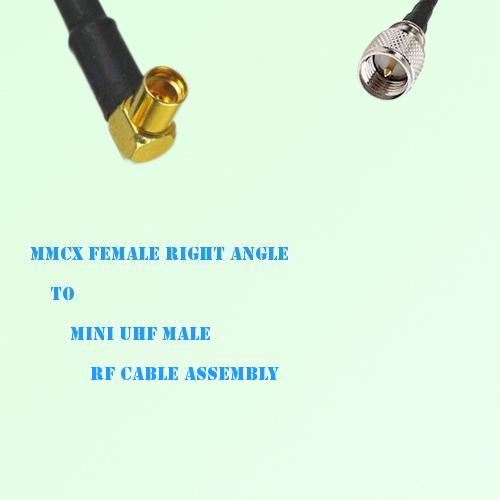 MMCX Female Right Angle to Mini UHF Male RF Cable Assembly