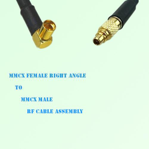 MMCX Female Right Angle to MMCX Male RF Cable Assembly