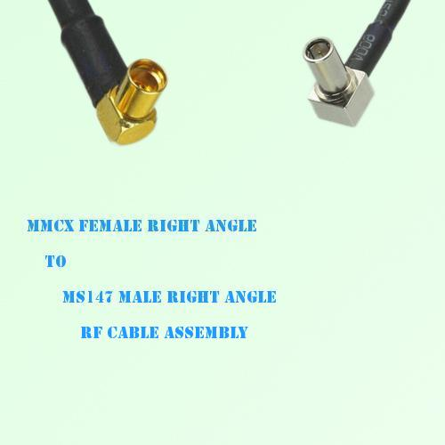 MMCX Female Right Angle to MS147 Male Right Angle RF Cable Assembly