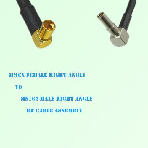 MMCX Female Right Angle to MS162 Male Right Angle RF Cable Assembly