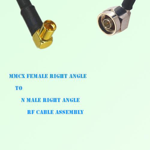 MMCX Female Right Angle to N Male Right Angle RF Cable Assembly