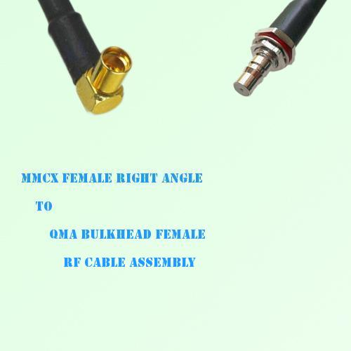 MMCX Female Right Angle to QMA Bulkhead Female RF Cable Assembly