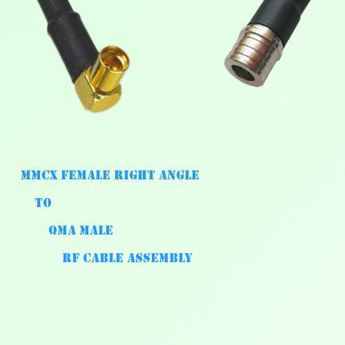 MMCX Female Right Angle to QMA Male RF Cable Assembly