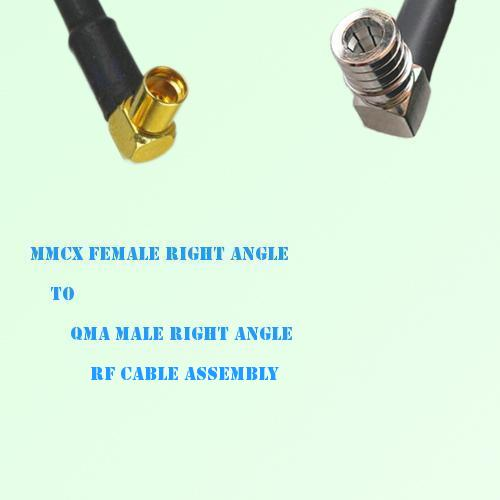 MMCX Female Right Angle to QMA Male Right Angle RF Cable Assembly