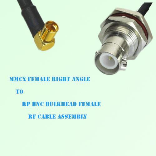 MMCX Female Right Angle to RP BNC Bulkhead Female RF Cable Assembly