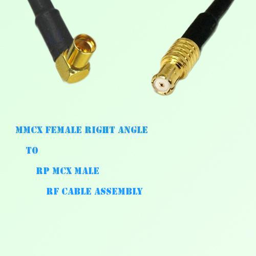 MMCX Female Right Angle to RP MCX Male RF Cable Assembly