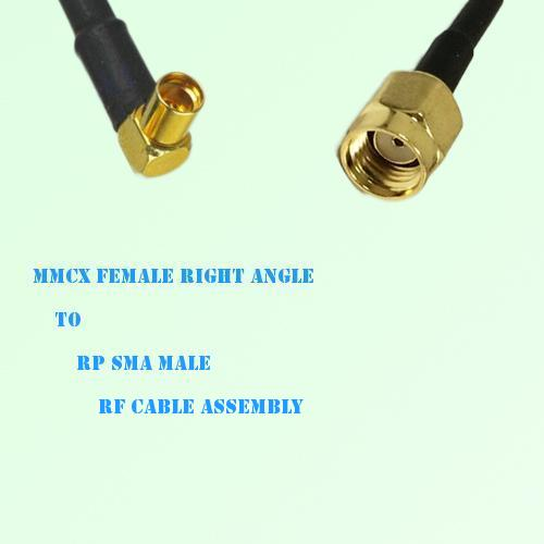 MMCX Female Right Angle to RP SMA Male RF Cable Assembly