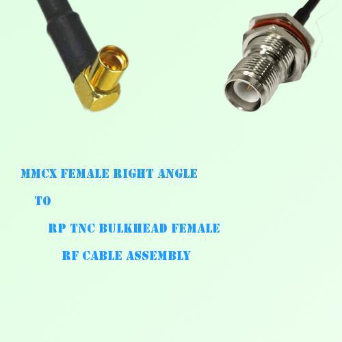 MMCX Female Right Angle to RP TNC Bulkhead Female RF Cable Assembly